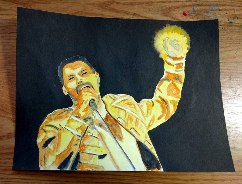 Queen Freddie Mercury Original Watercolor Painting 9 x image 0
