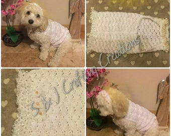 Crochet Bride Wedding Outfit for Dogs