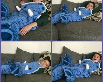 Eaten by a Dragon Afghan blanket in colours of your choice, custom dragon blanket, fun quirky gift blanket