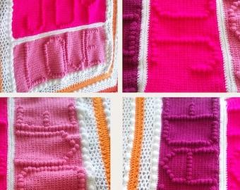 Peace Joy Love Crochet Blanket