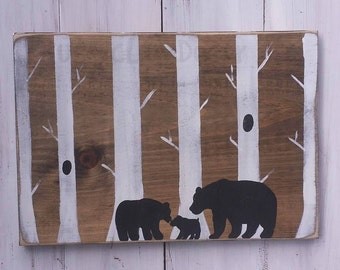 Our Little Bear Sign, Woodland Nursery Decor, Woodland Theme Nursery Sign, Nursery Bear Sign, Log Cabin Nursery, Woodland Baby Shower Gift
