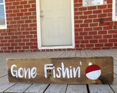 Gone Fishing Sign, Woodland Nursery Decor, Boys Bedroom Sign, Front Porch Sign