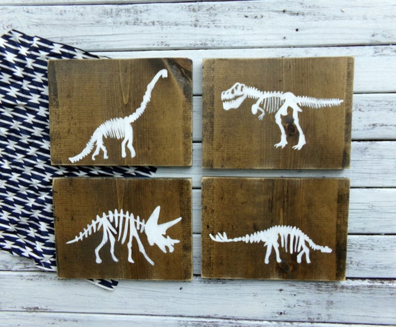 Dinosaur Wood Sign Set Dinosaur Decor Boys Dinosaur Bedroom | Etsy