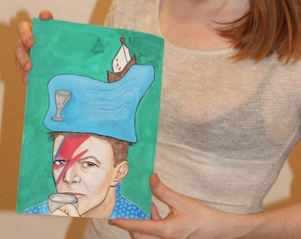 David Bowie as King of Cups in Temptress Tarot Art Deck, Published Art, Contemporary, Modern Wall art, Watercolor,  Acrylic