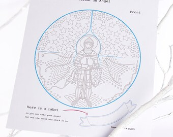 Christmas Diy Paper Angels Colour And Make Paper Craft Etsy