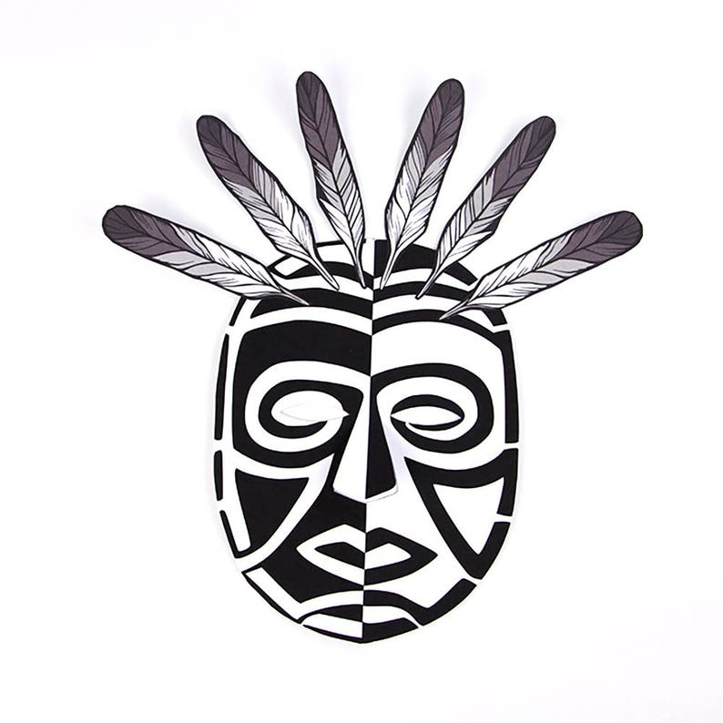 Paper Craft Witch doctor with feathers to wear or hang up Adult and child activity Shaman mask Halloween Spirit mask Masks to make