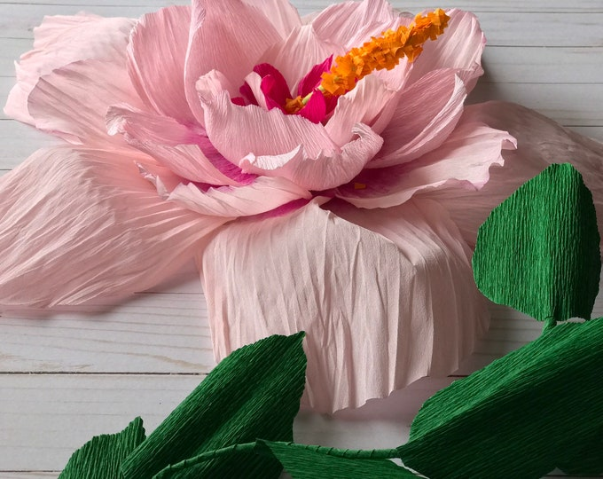 Hibiscus paper flower decor pink hibiscus paper flower party decor