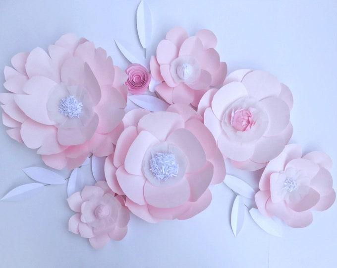 Pink wall decor White paper flowers Nursery decor