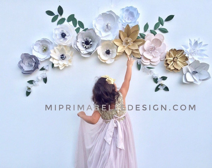 Blush party backdrop wedding Arbor flowers Ivory party decor gray flower wall paper flower backdrop off white