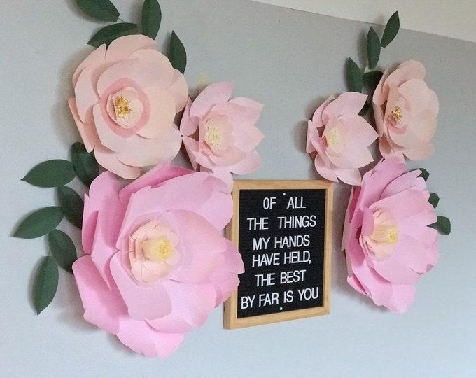 Blush nursery decor pink wall paper flowers girl birthday props
