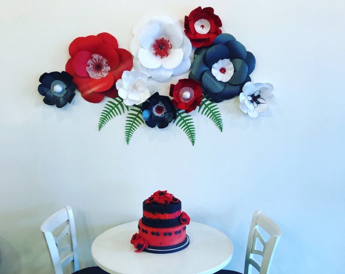 Red floral backdrop red arbor decor black dining room wall decor