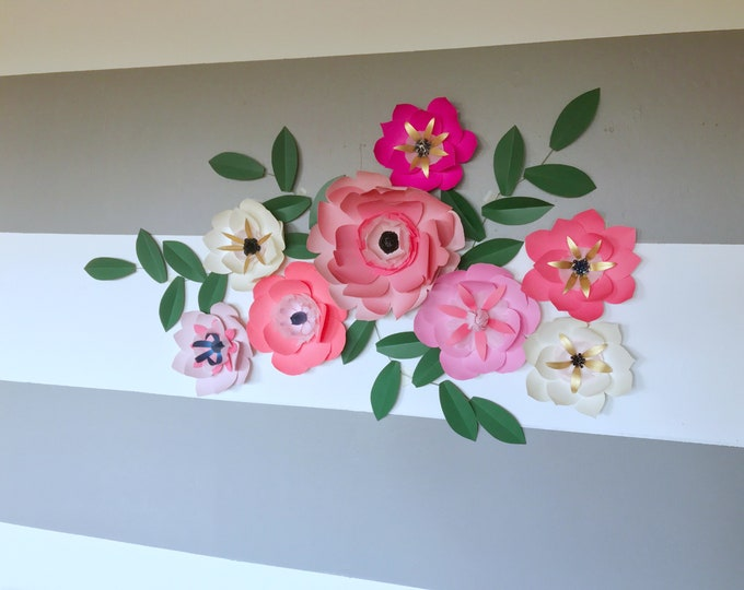 Coral pink paper flowers bejeweled paper flowers customizable posh flower decor