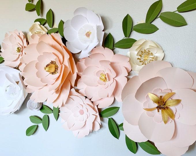 White flower backdrop Nude color palette Cream floral wall decor Blush photo props