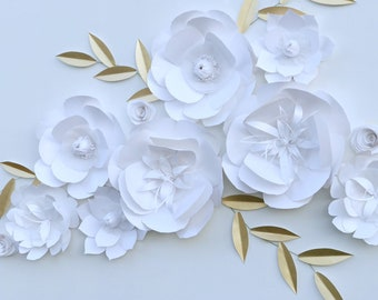 Gold event backdrop white floral decor paper flowers wedding aisle decor