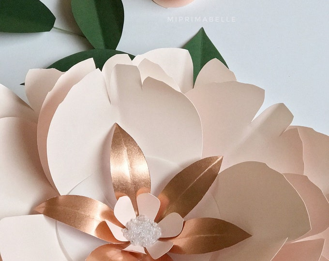 Rose gold decor flower paper flower wall art blush nursery artwork