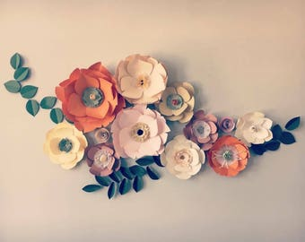 Taupe room decor Burnt orange decor mauve paper flowers muted decor colors