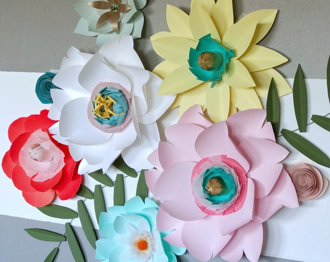 Paper flowers with blings high end decor wedding decor luxurious nursery decor with crystals posh party backdrop flower decor baby shower