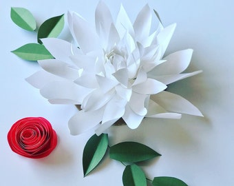 White paper dahlia flower decor holiday tree ornament white flower centerpiece