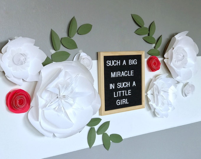 White paper flower Red nursery wall decor giant wedding floral decor