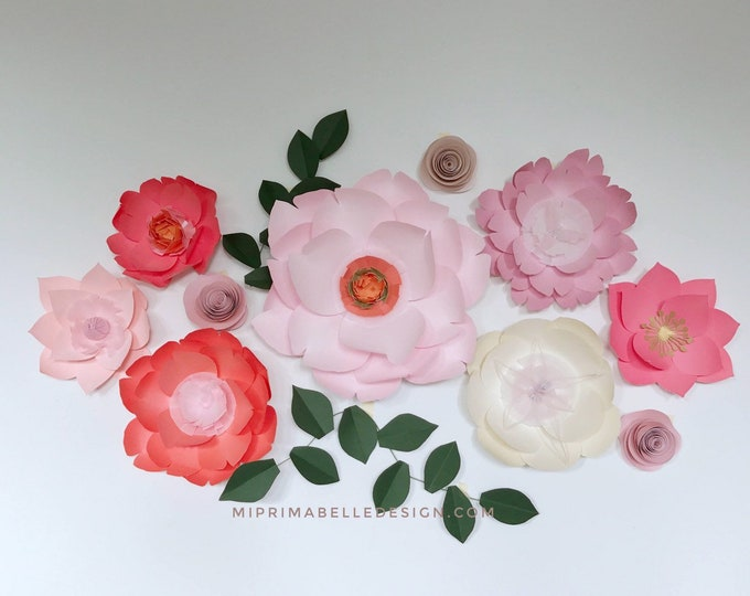 Coral paper flowers Coral wall decor Ivory nursery decor
