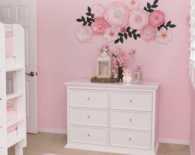 Pink flower wall lux nursery decor posh paper flowers custom wall decor