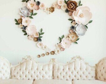 Heart backdrop blush wall decor neutral gold event decor