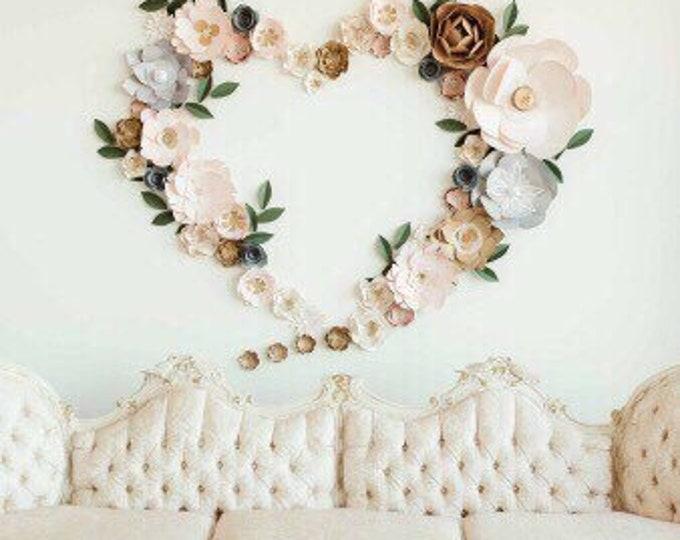 Heart backdrop blush wall decor neutral gold event decor