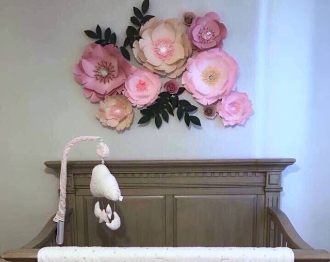 Above the crib paper flowers living room floral wall art wedding decor