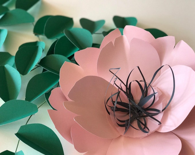 Pink and black floral decor large paper flowers props