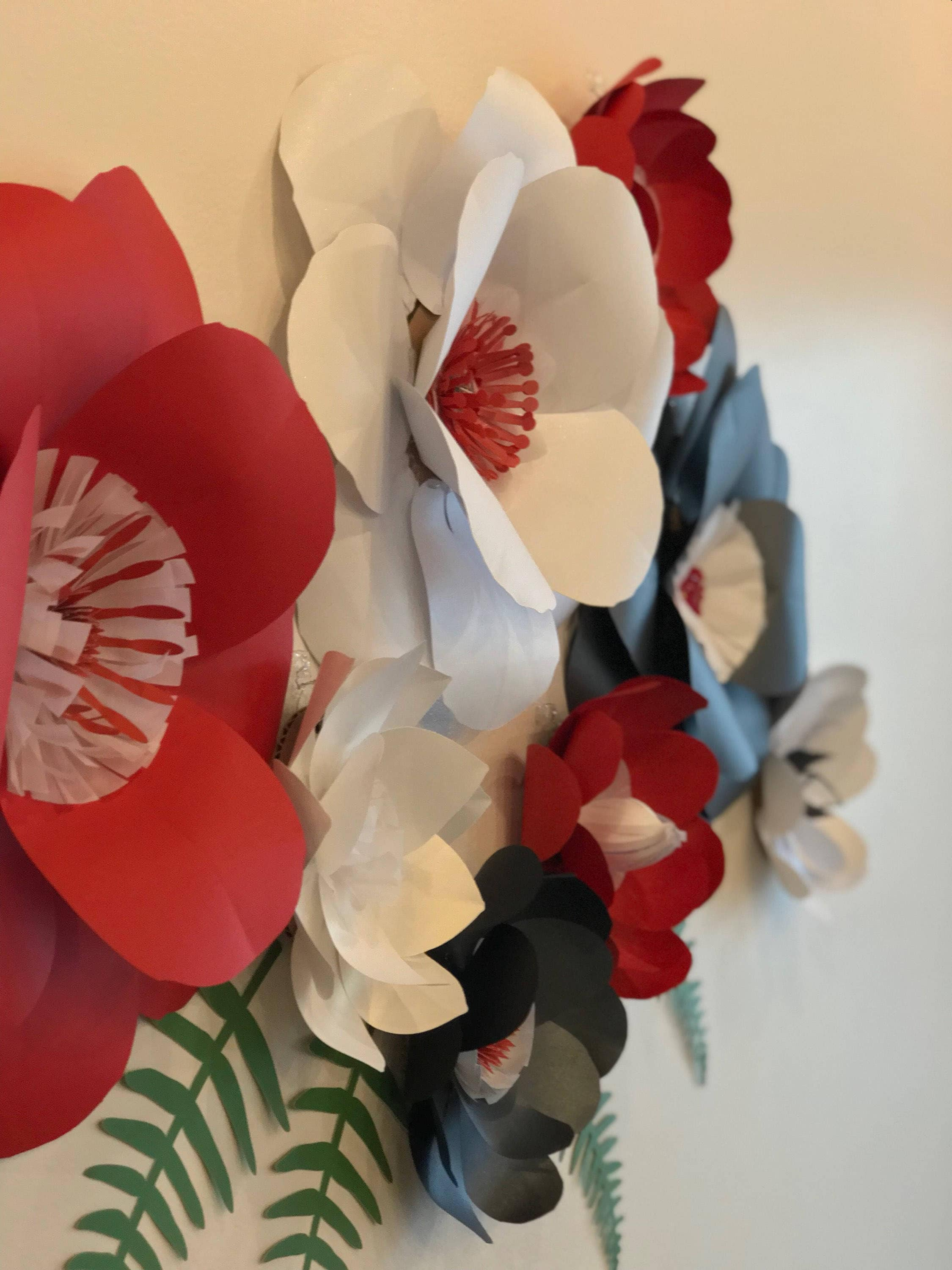 Paper Flowers Red Wall Decor Black Paper Flowers Red Paper Flowers