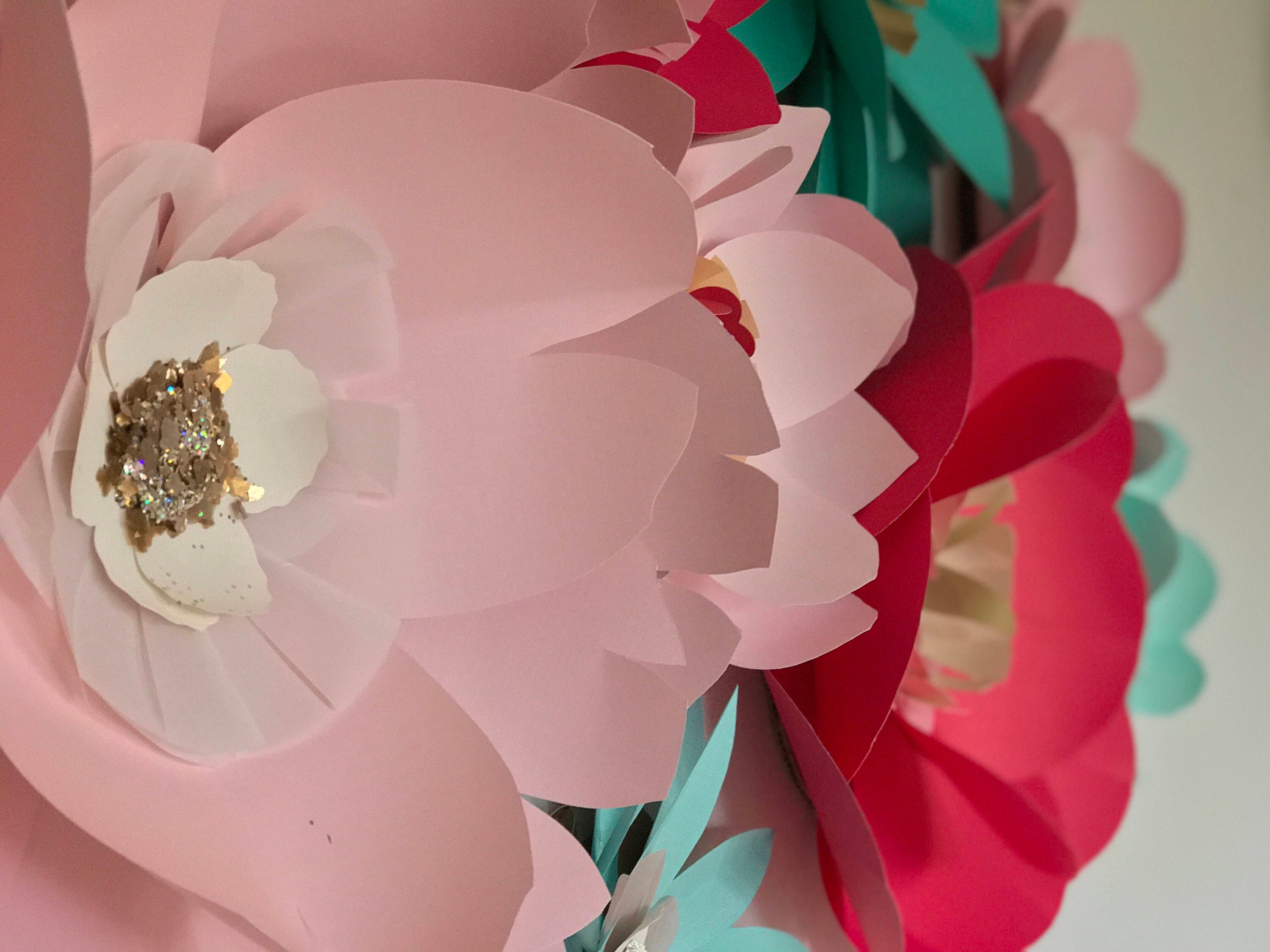 Wedding flower backdrop giant pink paper flowers wall decor teal ...