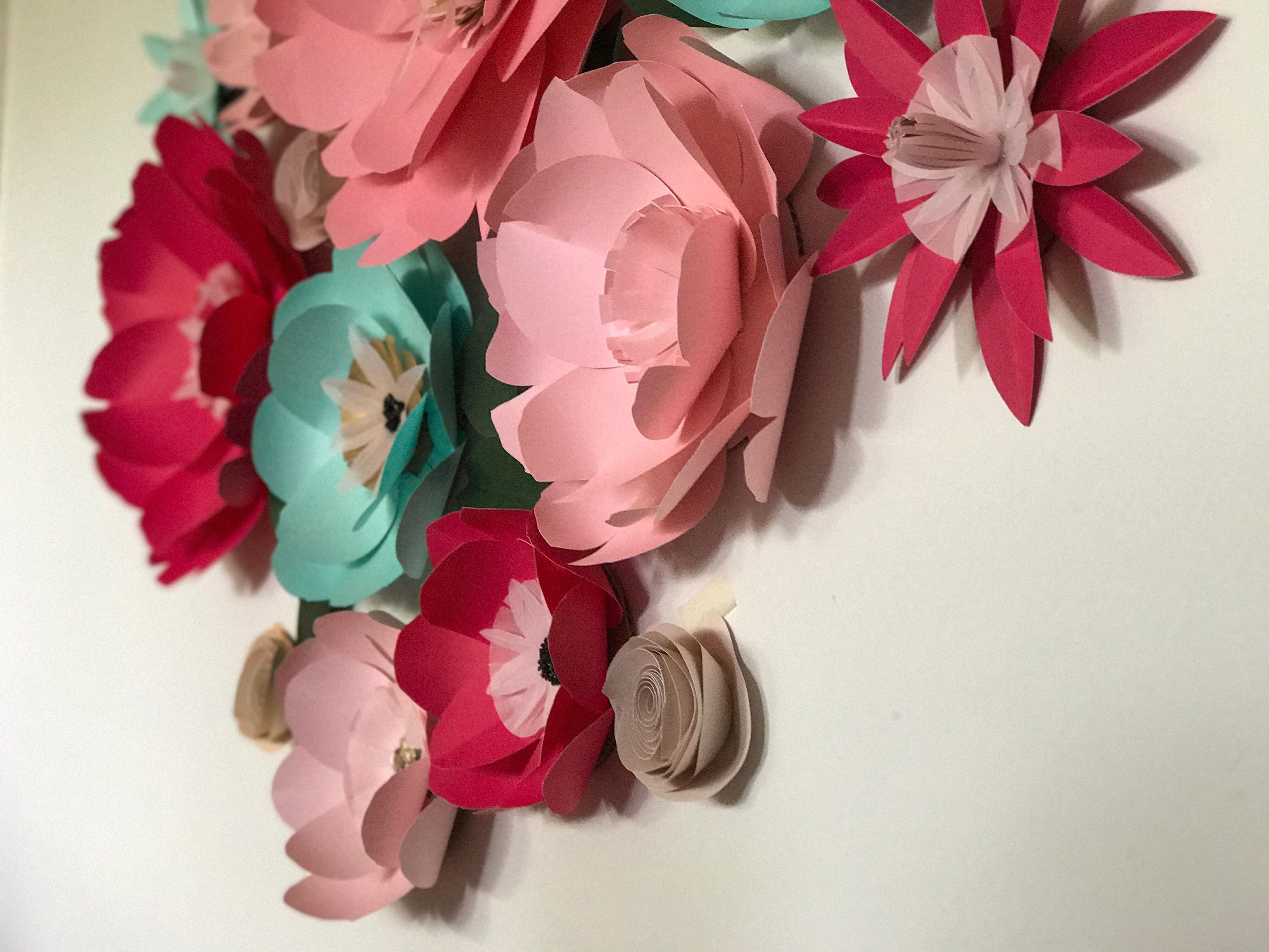Large paper flowers fuchsia wall decor baby nursery teal hanging 3D ...