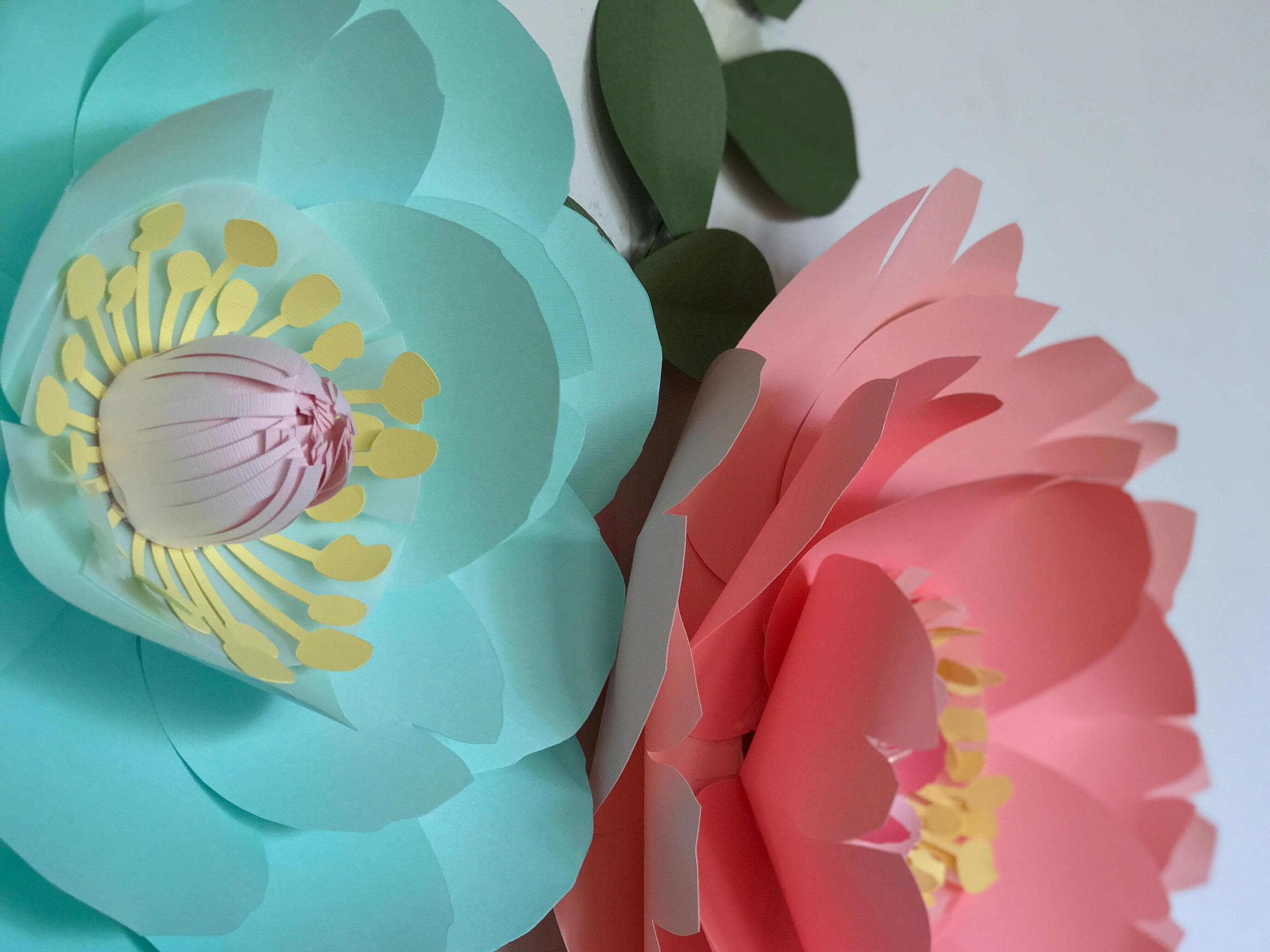 Turquoise paper flower coral wall decor mint baby girl nursery room coral paper flower gallery photo gallery photo gallery photo gallery photo mightylinksfo