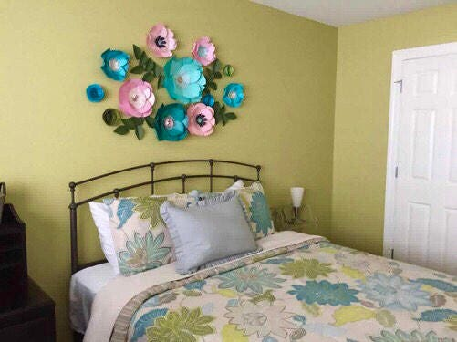 Teal Paper Flowers Blue Green Master Bedroom Decor Above The