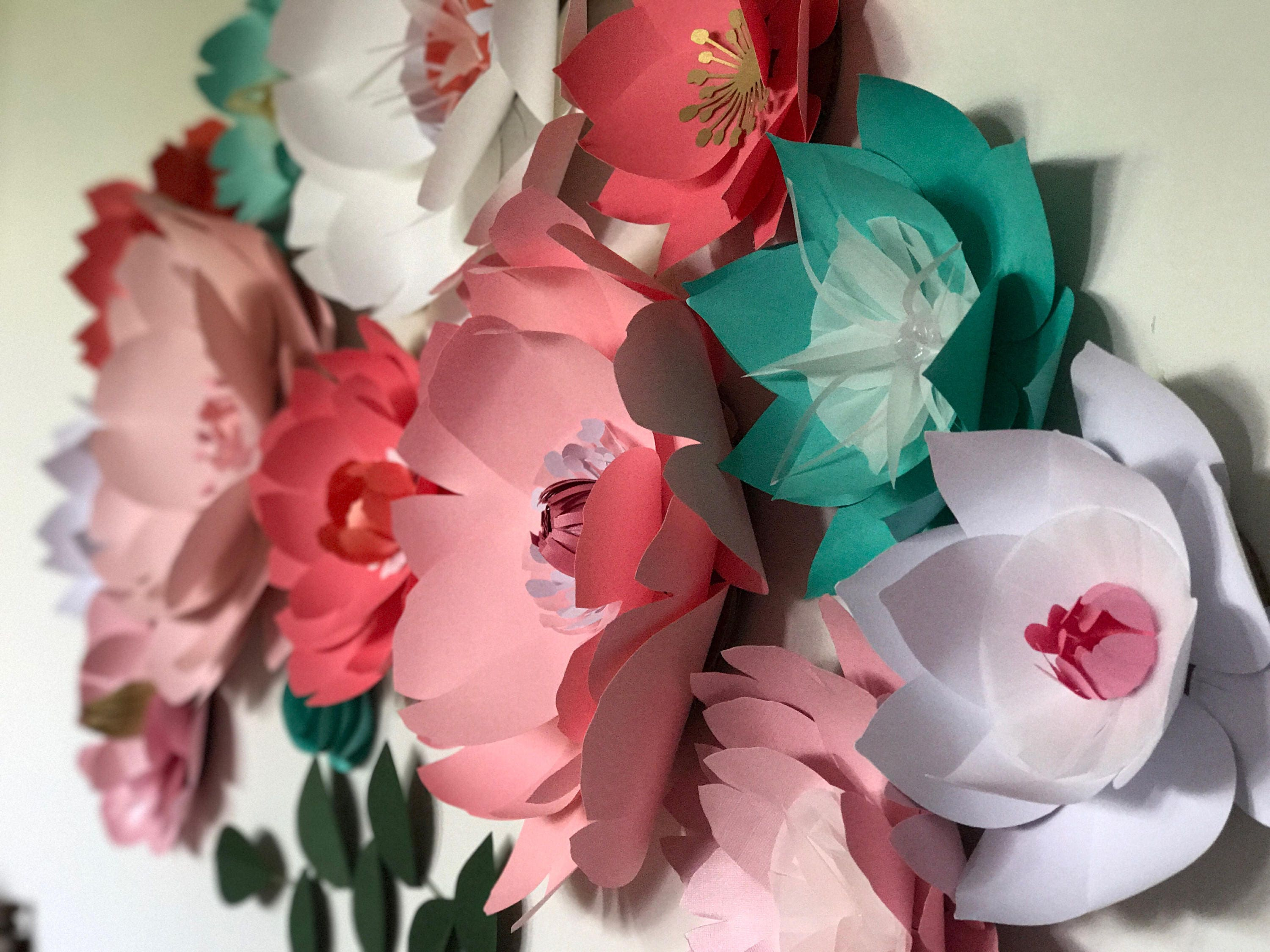Pink nursery paper flower wall wedding decor giant teal flower girl ...