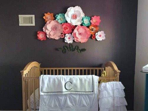 Pink nursery paper flower wall wedding decor giant teal flower girl ...