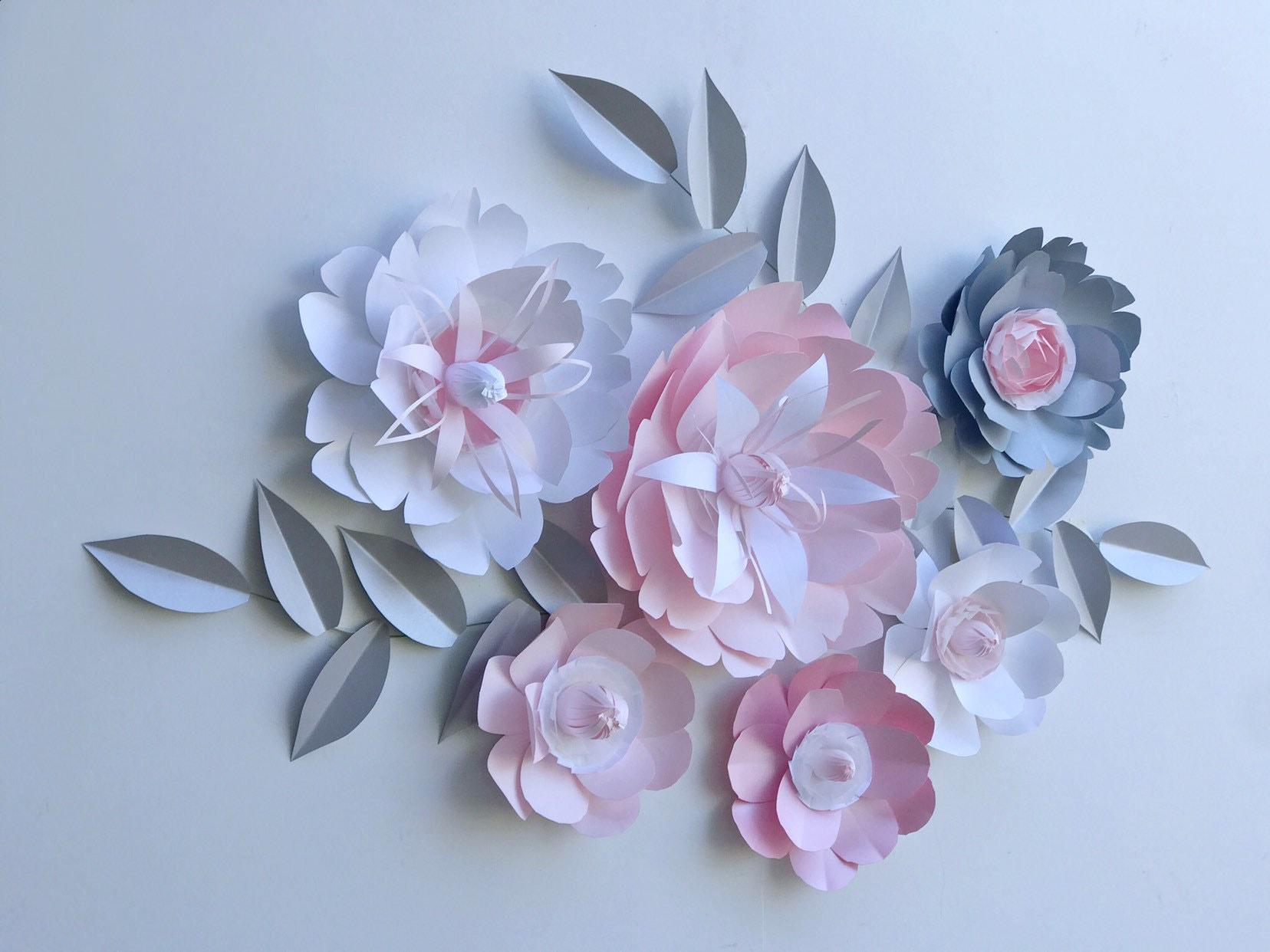 Nursery Flowers Wall Decor Pink Peony Flower Paper Peony Flower