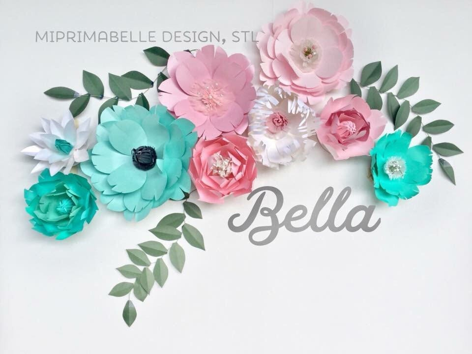 Turquoise playroom decor craft room wall paper flowers decor baby turquoise playroom decor craft room wall paper flowers decor baby girl nursery teal room decor paper flowers mightylinksfo