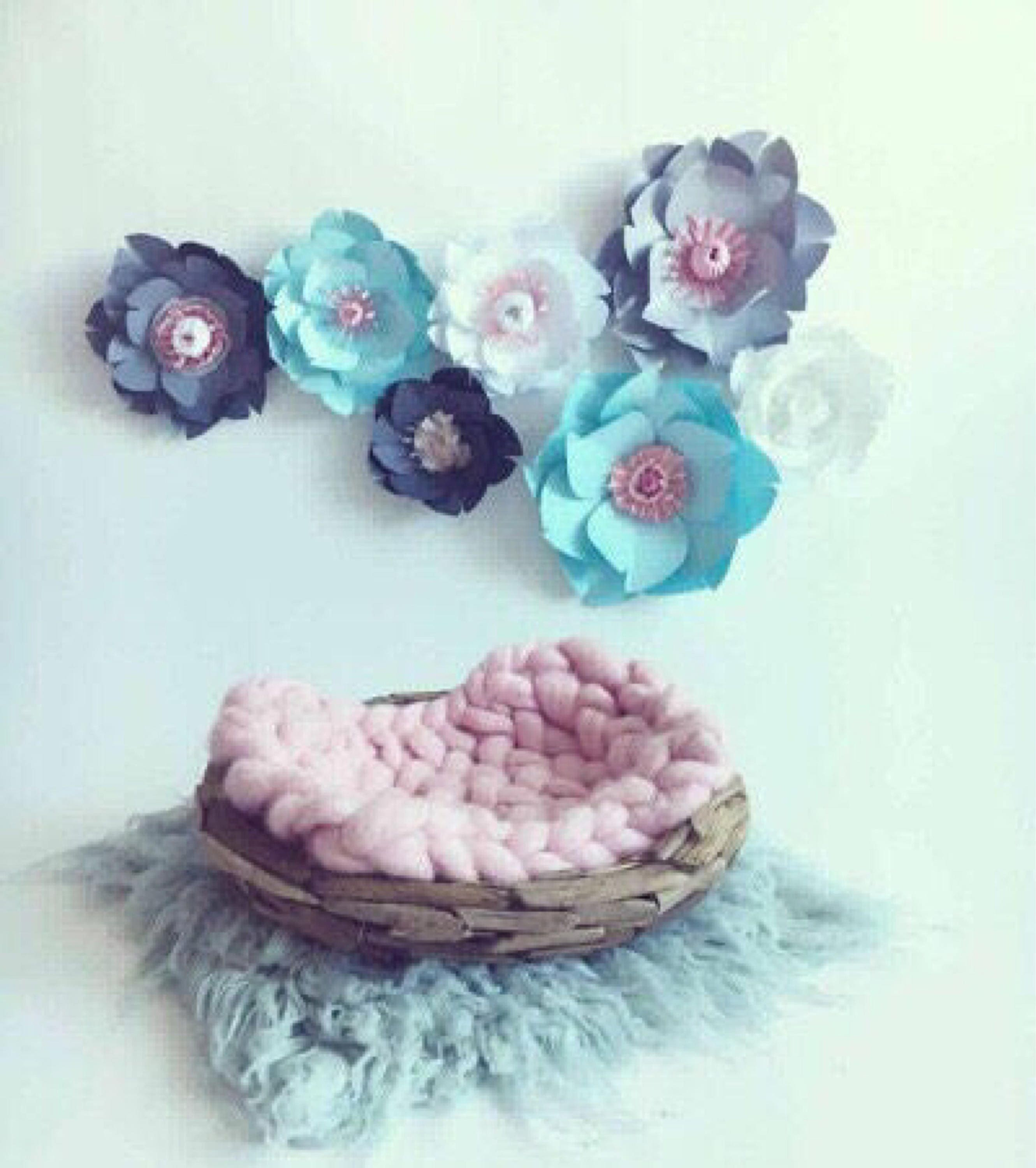 Large paper flowers light blue room wall decor baby girl nursery giant floral wall gallery photo gallery photo mightylinksfo