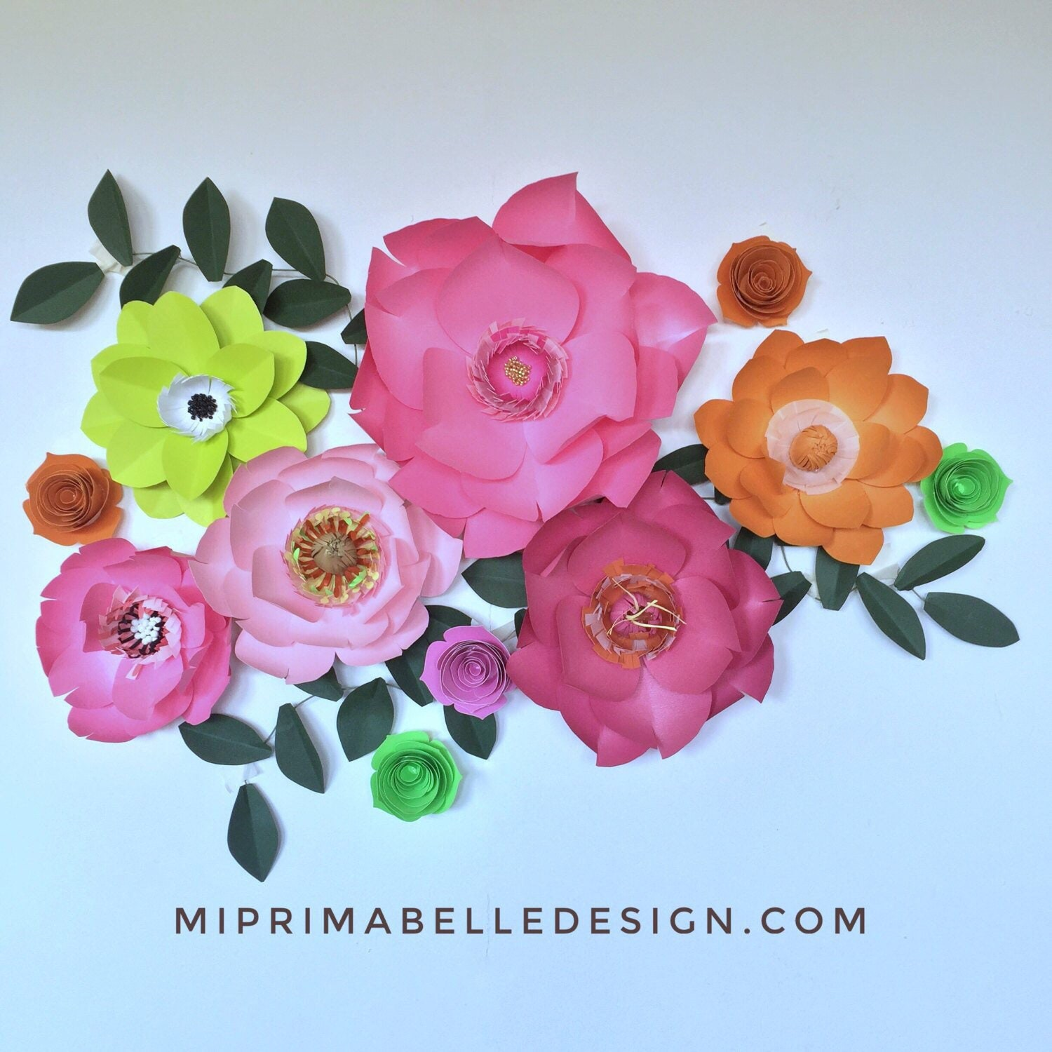 Lime Green Paper Flowers Decor Orange Paper Flowers Wall Decor