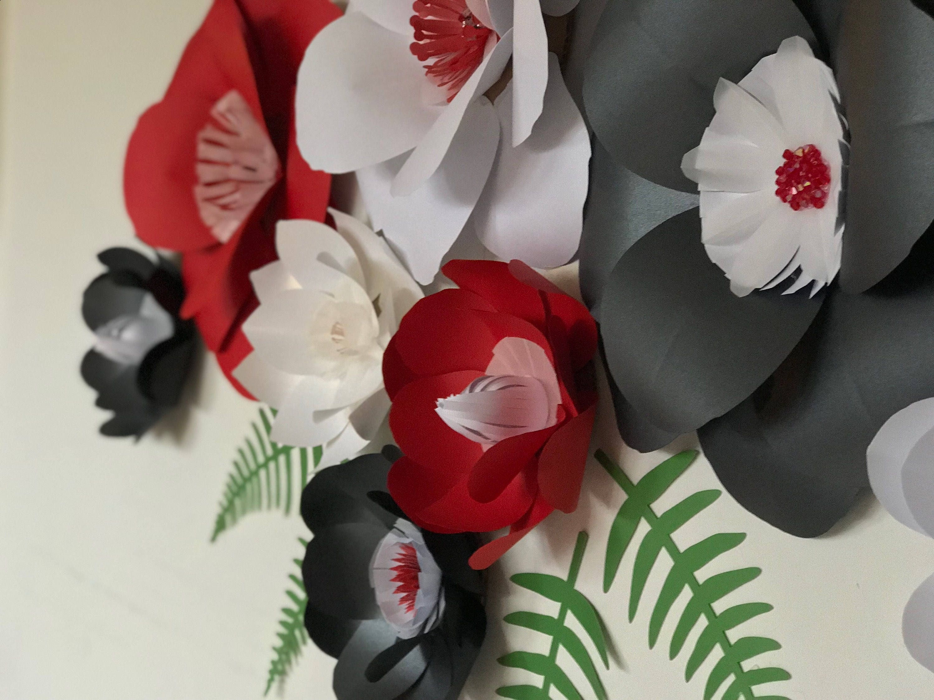 Paper flowers red wall decor black paper flowers red paper flowers paper flowers red wall decor black paper flowers red paper flowers red wall backdrop red wedding backdrop dining room decor red party decor mightylinksfo