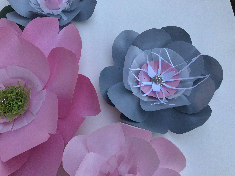 Gray paper flowers ivory nursery decor pink flower decor shipping mightylinksfo