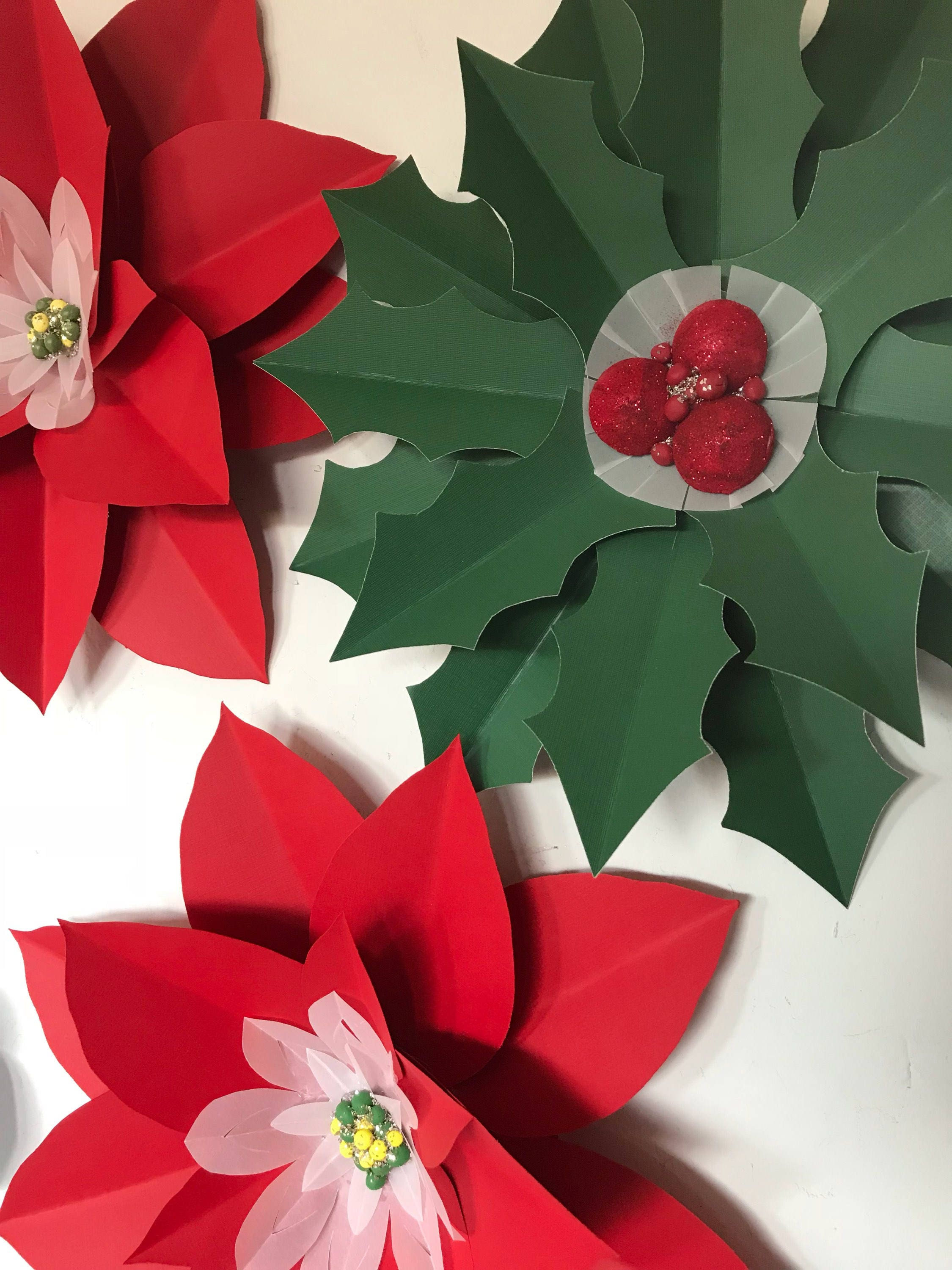 Poinsettia Paper Flowers Christmas Wall Decor Holiday Holly Berries