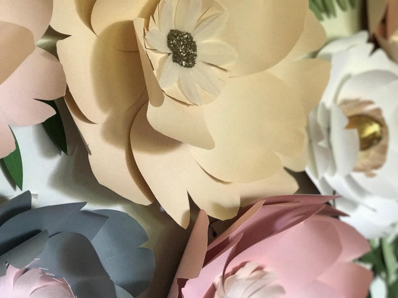 Giant paper flower wall decor gray paper flower gold wedding decor ...