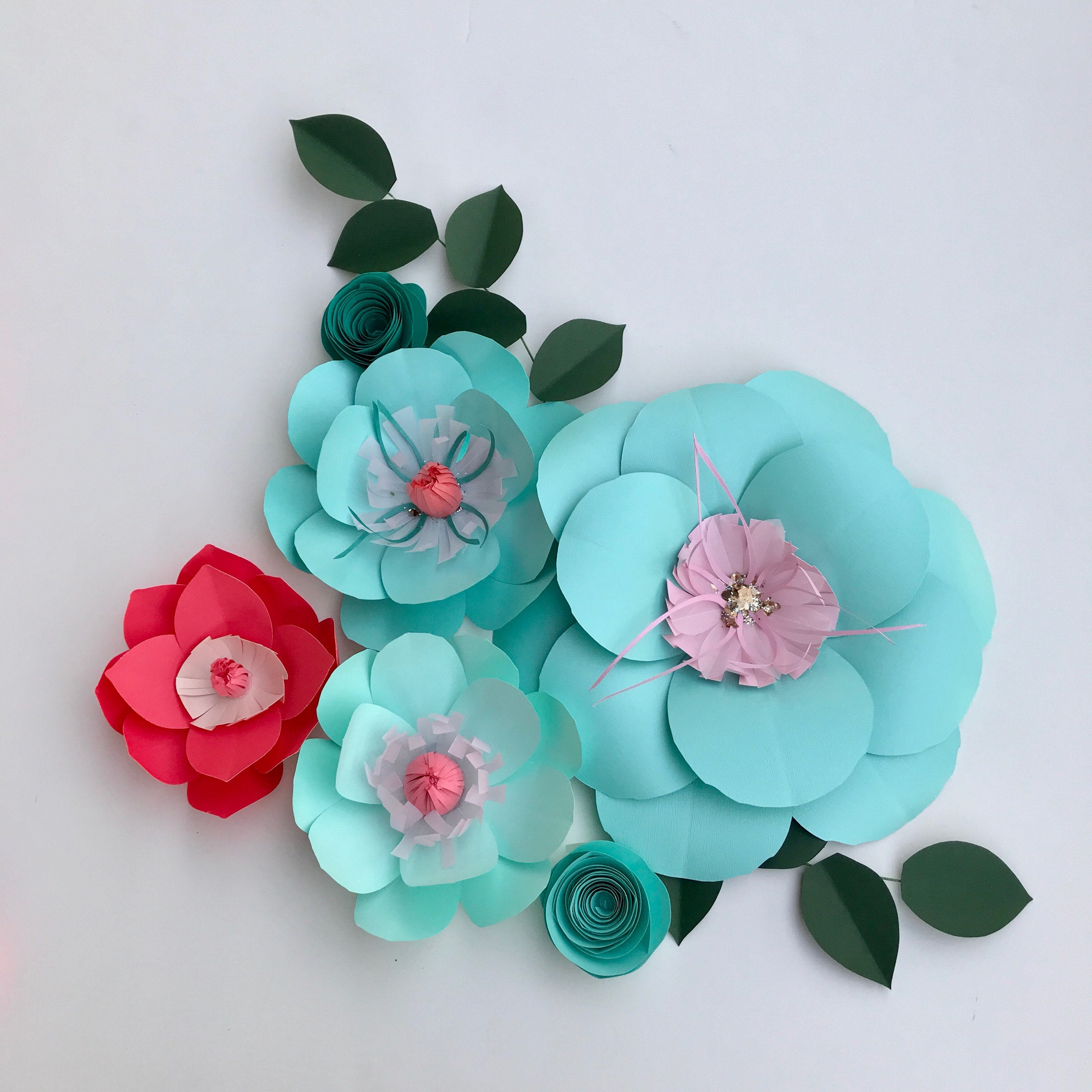 Turquoise wedding color motif coral wall decor large paper flowers