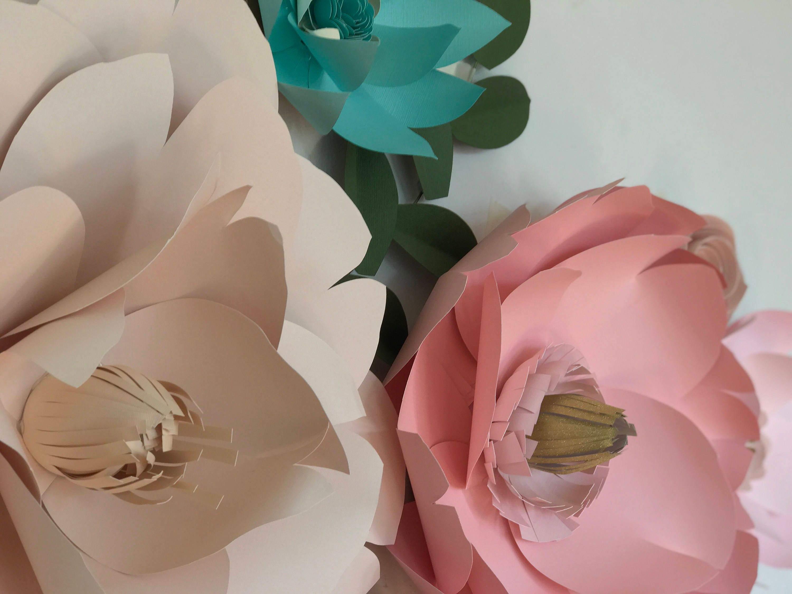 Paper flowers wall decor, nursery room wall decor, large mint paper ...