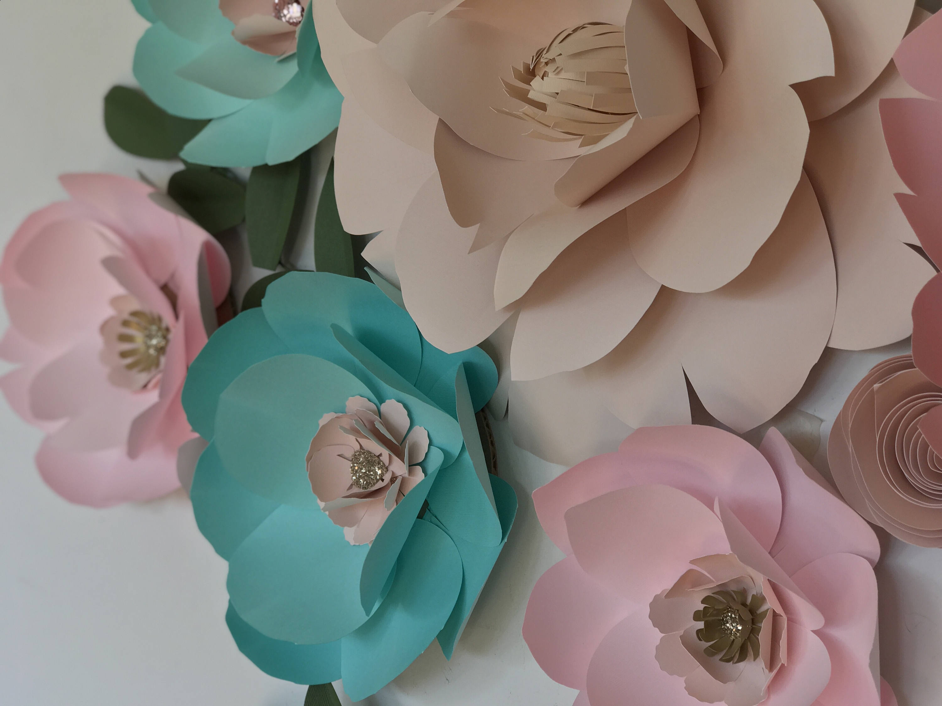 Paper Flowers Wall Decor Nursery Room Wall Decor Large Mint Paper