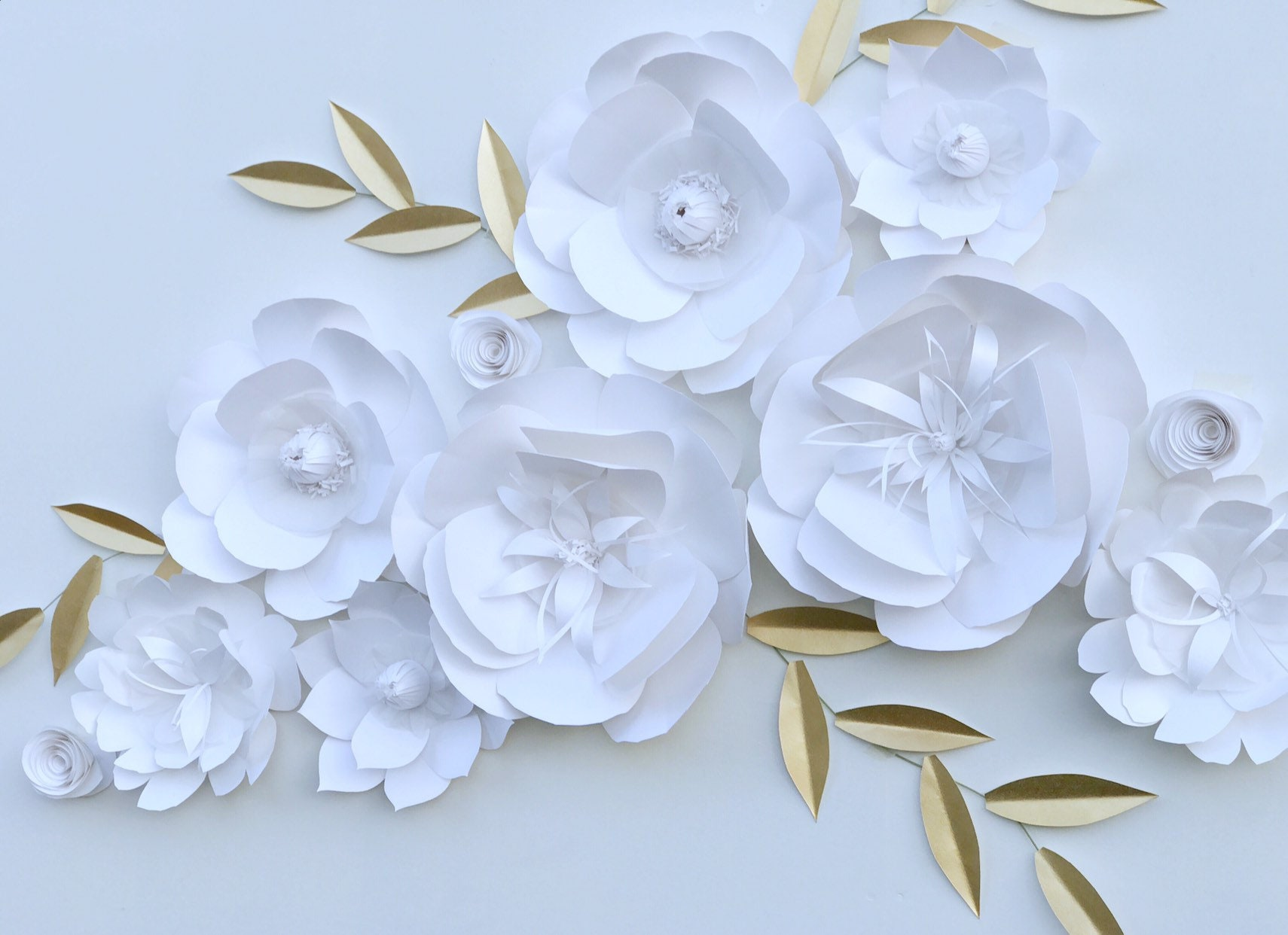 White Flower Wall Backdrop Paper Flowers