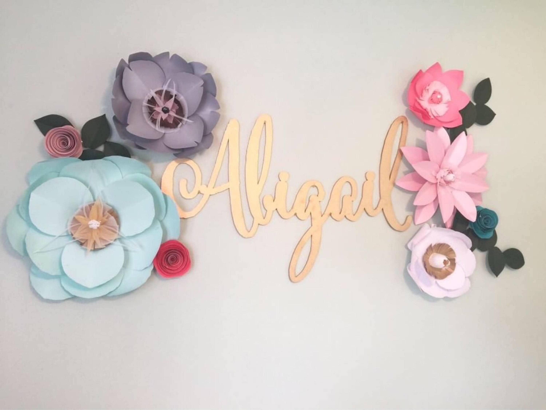 mint paper flowers mint wall decor gray nursery decor girl pink