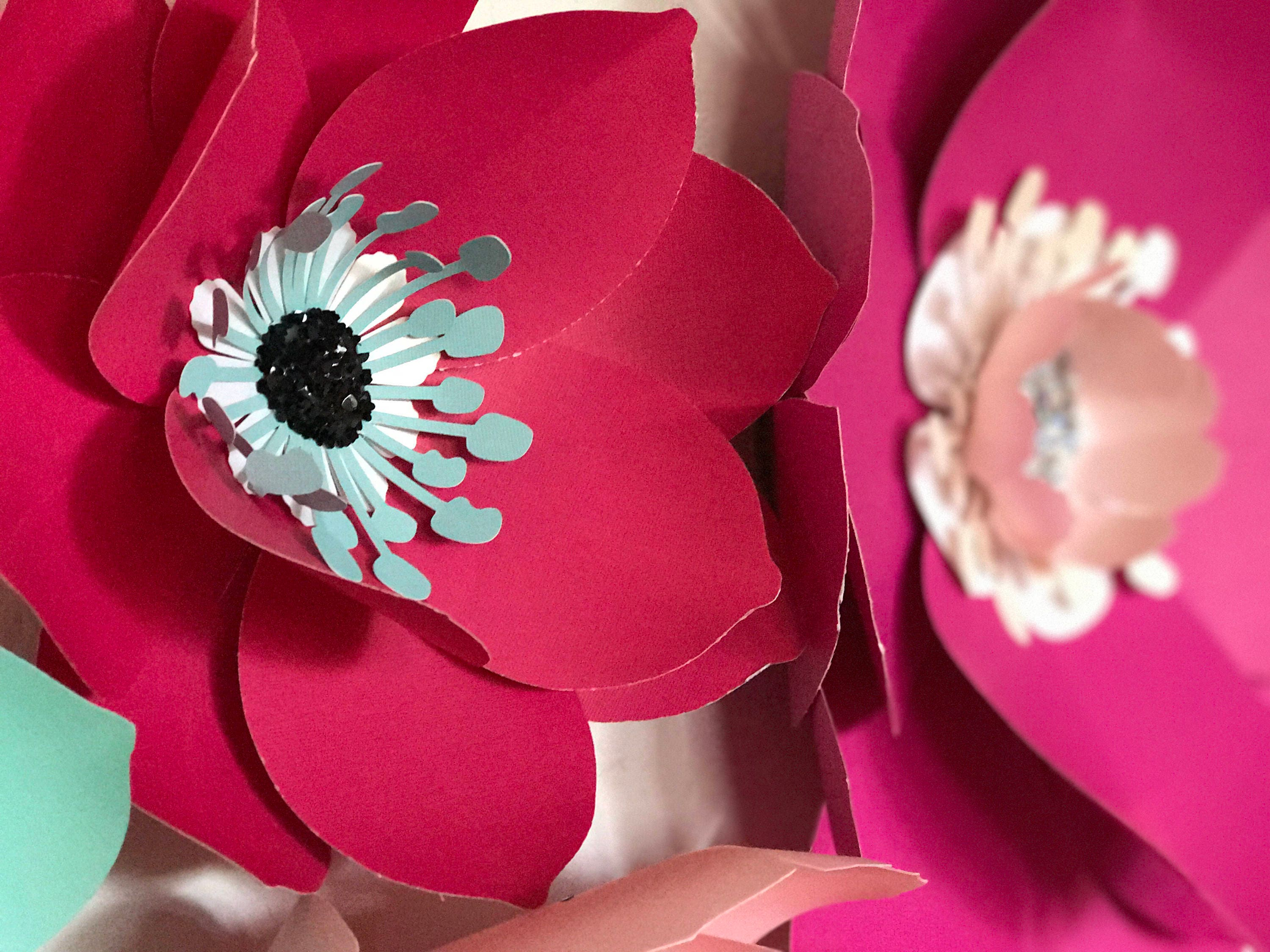 Turquoise Flowers Paper Flowers Large Magenta Paper Flowers Decor